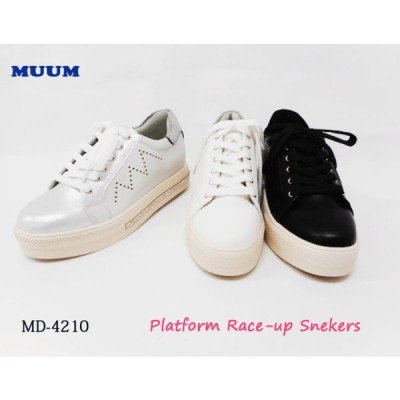 【SALE】MUUM 厚底 キラキラ レースアップ スニーカー ラインストーン クッション MD4210