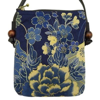 金彩牡丹と桜(藍紺)お祭りショルダーポシェット【大】