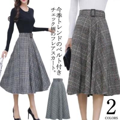 S-3Lサイズ!グレンチェックミディアムスカート ベルト付きスカート ミディアム丈 グレンチェックスカート ミモレスカート チェック グレンチェック柄