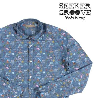 【M】 SEEKER GROOVE シーカーグルーブ 長袖シャツ メンズ 春夏 ブルー 青 並行輸入品 カジュアルシャツ