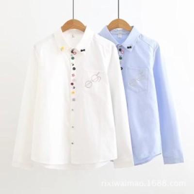 レディース シャツ 長袖 トップス 刺繍 可愛い ボタン付き シャツ レディースシャツ お洒落 長袖ブラウス 女子高生 通学