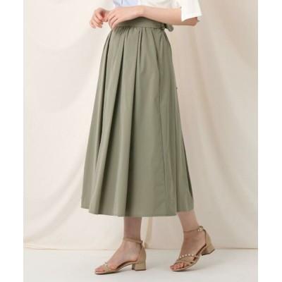 Couture Brooch/クチュールブローチ タックリボンタイプライターフレアスカート オリーブグリーン(026) 38(M)