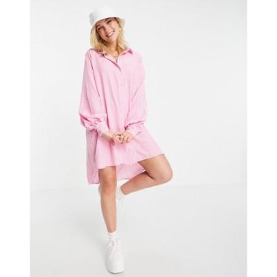 ローラ メイ Lola May レディース ワンピース シャツワンピース ワンピース・ドレス Oversized Dip Hem Shirt Dress In Pink Stripe ピンク/ホワイト