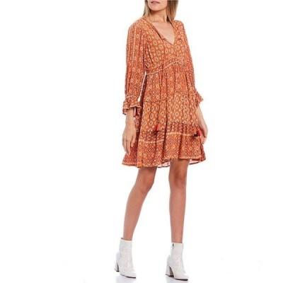 アンジー レディース ワンピース トップス Twin Print Long Sleeve Tiered Hem Skater Dress