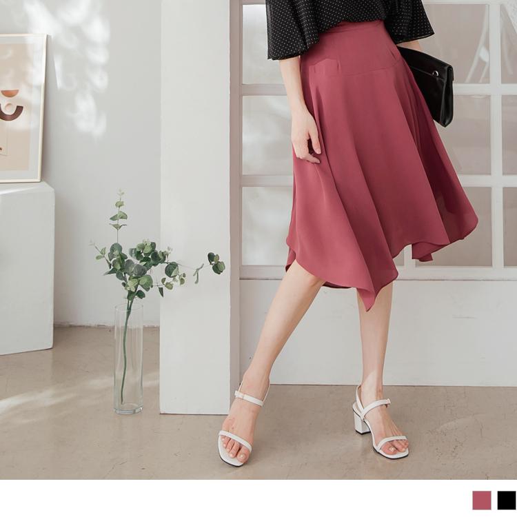 優雅不規則傘襬A字雪紡及膝裙