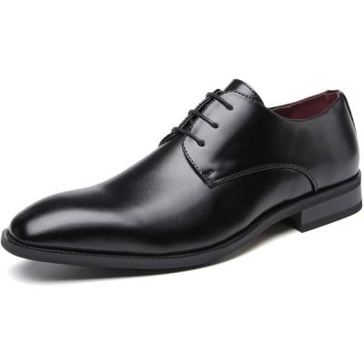 Fengbao 革靴 ビジネスシューズ メンズ 本革 リーガル 靴 スニーカー 通勤 レースアップ 柔らかい (25.5cm, ブラック(タ