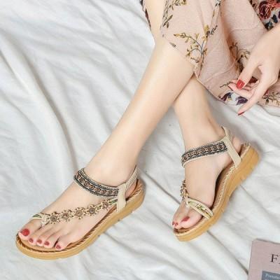 2020新品 ボヘミアン風 サンダル レディース 履きやすい 歩きやすいおしゃれ ミュール 美脚 旅行 夏靴 夏サンダル 黒 23cm〜25.5cm