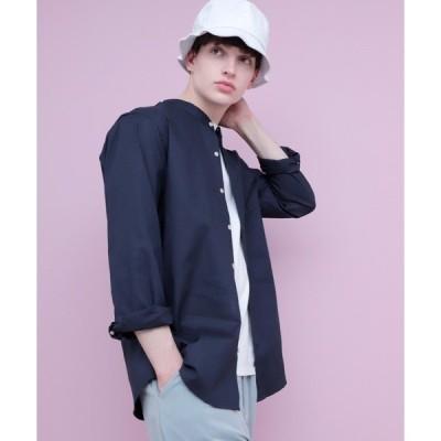 シャツ ブラウス LINEN×COTTONオーバーサイズストレッチバンドカラーシャツ