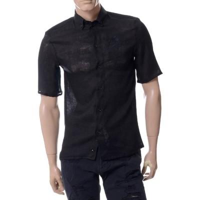 30% OFF エンポリオアルマーニ(EMPORIO ARMANI) 刺繍入り半袖シャツ リネン ブラック