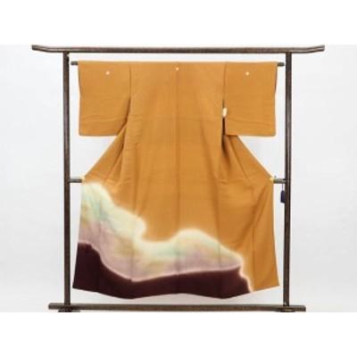 【中古】リサイクル色留袖 / 正絹金茶地橘紋入ぼかし袷色留袖 (古着 中古 色留袖 リサイクル品)