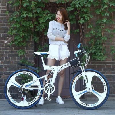 クロスバイク マウンテンバイク ショックアブソーバー付き 折りたたみ自転車 26インチ 4色 6段ギア カギ付き メンズ レディース 通勤 通学 街乗り