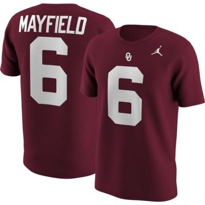 ナイキ ジョーダン Jordan メンズ Tシャツ トップス Oklahoma Sooners Baker Mayfield #6 Crimson Football Jersey T-Shirt