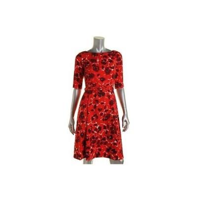 ドレス 女性  アンクライン Anne Klein 9511 レディース プリントed Pleated 半袖s Wear to Work ドレス