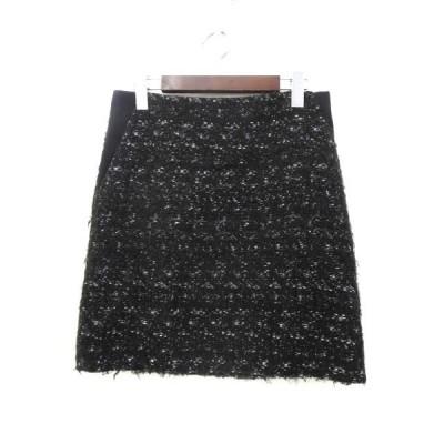 【中古】アドーア ADORE スカート 36 S 黒 ブラック ニット地 バックジップ シンプル レディース 【ベクトル 古着】