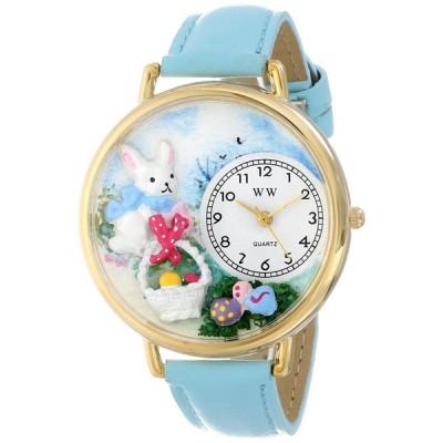 復活祭 イースターエッグ 水色レザー ゴールドフレーム 時計 #G1220016