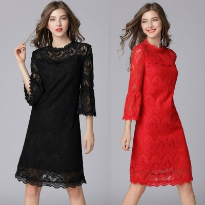 結婚式 パーティードレス 黒 赤 L-6L ぽっちゃり 大きいサイズ 予約 七分袖 花柄 刺繍 総レース ワンピース パーティー 二次会 披露宴 MD-Y16089 送料無料