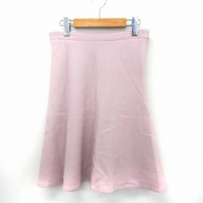【中古】シップス SHIPS スカート フレア 膝丈 サイドジップ シンプル 38 ピンク /ST8 レディース