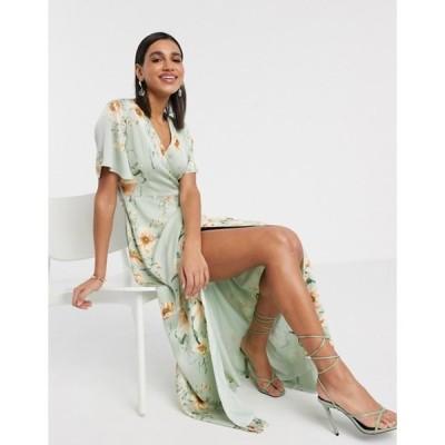 ワイエーエス レディース ワンピース トップス Y.A.S midi wrap dress with fluted sleeve in floral print