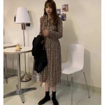 ワンピース ロング プリーツ 花柄 リボン フレア 長袖 ゆったり レトロ カジュアル 大人可愛い 韓国 オルチャン ファッション