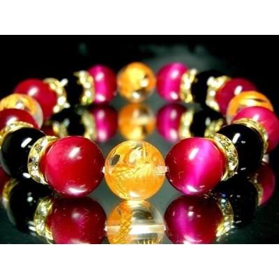四神獣水晶ピンクタイガーアイオニキス12ミリ金ロンデル数珠