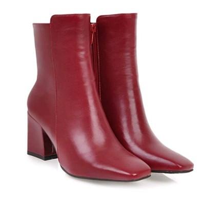 ショートブーツ スクエアトゥ 太いヒール 7cmヒール 内側ジップ レディース 赤/黒/白