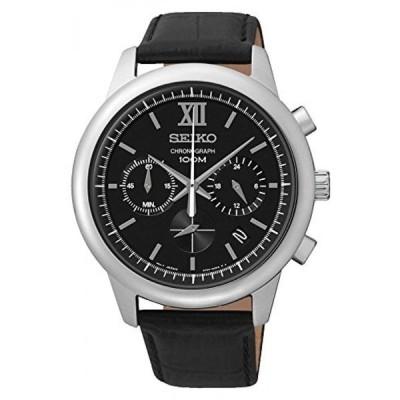 腕時計、アクセサリー セイコー アストロン グランドセイコー SEIKO SSB139P2 Men's Chronograph Stainless Steel Case Black Leather Strap 100m WR SSB139P2