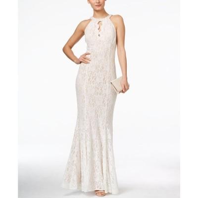 ナイトウェイ Nightway レディース パーティードレス ワンピース・ドレス Lace Keyhole Halter Gown Ivory/Nude