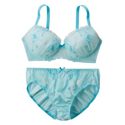 フラワーアーチ刺しゅうブラジャー。ショーツセット(ラージサイズ)(C95/4L) (ブラジャー&ショーツセット)Bras & Panties