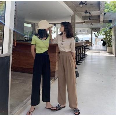 品質自信あり 韓国ファッション CHIC気質 おしゃれな トレンド 大人気 ハイウエスト レトロ スリム 九分丈パンツ 一つボタン ワイドパンツ カジュアルパンツ