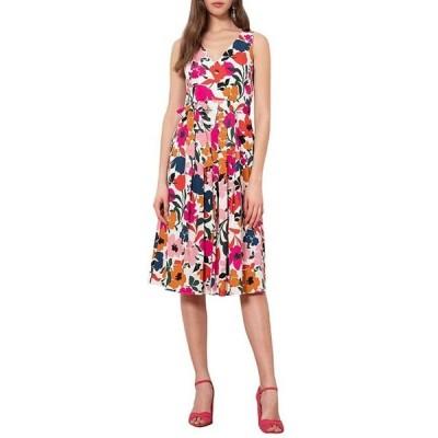 ドナモーガン レディース ワンピース トップス Surplice V-Neck Floral Stretch Cotton Poplin Midi Dress