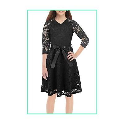 GORLYA Girl's 3/4 Sleeveless V Neck Elegant Floral Lace Birthday Party Flower Girl A-line Dress with Belt for 4-14T Kids (GOR1028, 7-8Y, Black)並行