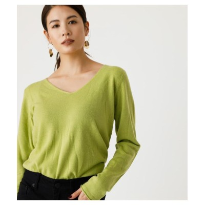(AZUL by moussy/アズールバイマウジー)NUDIE V/N KNIT TOPS 3/レディース L/GRN1