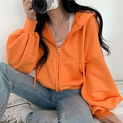 [BeiDelli]韓国NO.1女性のファッション! 4color! /ふわふわ雲パン着飾ったように着飾っていないようなパフパーカージップアップ / 韓国ファッション