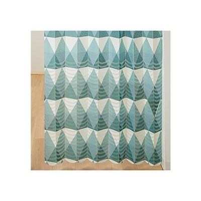 [nissen(ニッセン)] カフェカーテン 幾何学柄 パタパタたためて幅丈調節出来る幾何学柄パーテーションカーテン ブルー 幅100cm×