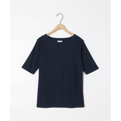 coen レディース 汗染み防止シンプルリブ5分袖カットソー トップス Tシャツ/カットソー ネイビー L