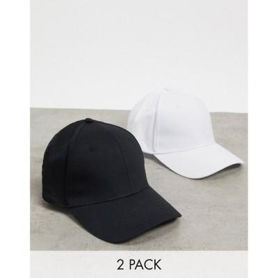 エイソス ASOS DESIGN メンズ キャップ 2点セット ベースボールキャップ 帽子 2 pack baseball cap in black and white cotton マルチカラー