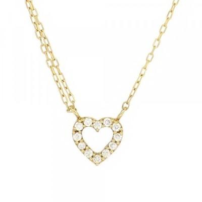 パヴェ ゴールドネックレス(チェーン付きペンダント) オープンハート 透かし 18金 イエローゴールド ダイヤモンド