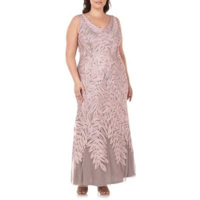 ジェイエスコレクションズ レディース ワンピース トップス Embroidered Leaf A-Line Gown DUSTY ROSE