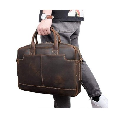 Mens Leather Briefcase Laptop Bag Fits 14 to 15.6 Inch Computer (Crazy Horse - Brown)【並行輸入品】