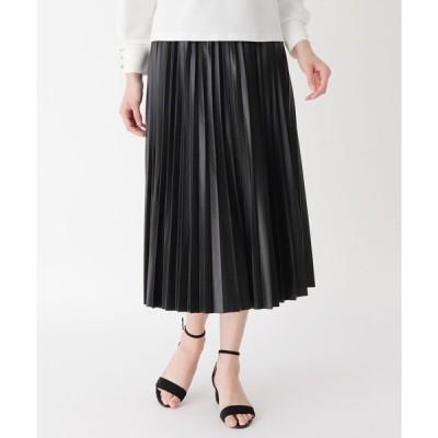 スカート フェイクレザープリーツスカート