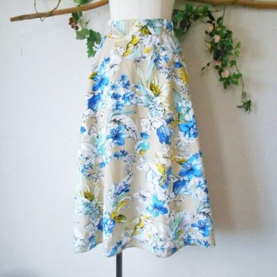 エージー バイ アクアガール AG by aquagirl 春夏 向き フラワー プリント の 素敵 な ロング スカート S