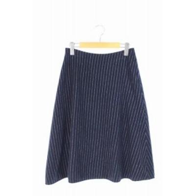 【中古】ドリーシーン DOLLY SEAN スカート フレア ロング ストライプ 1 紺 /MN ■AC レディース