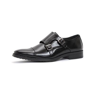 [サンエープラス] 2675 ビジネスシューズ ダブルモンクストラップ 防滑 ロングノーズ 革靴 通勤 冠婚葬祭 BLK (26cm)