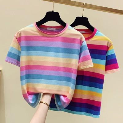 トップス レディース Tシャツ 着痩せ 半袖 ストライプ 丸首 虹 きれいめ カジュアルTシャツ ワイド ゆったり 着回し 細身 可愛い ソフト インナー お出かけ 上品