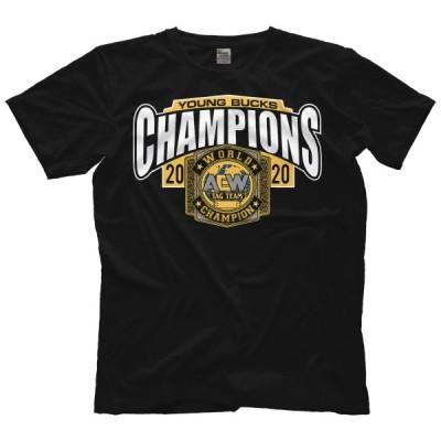 AEW Tシャツ「ヤングバックス YOUNG BUCKS Champions Tシャツ」AEW アメリカ 直輸入 プロレス プリントTシャツ
