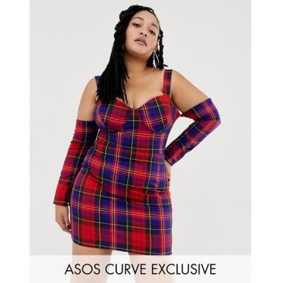 エイソス ASOS Curve レディース ワンピース ワンピース・ドレス ASOS DESIGN x LaQuan Smith Curve off shoulder mini dress in check print Multi check