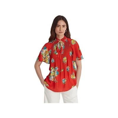 LAUREN Ralph Lauren Floral Georgette Tie-Neck Top レディース シャツ トップス Bright Hibiscus Multi