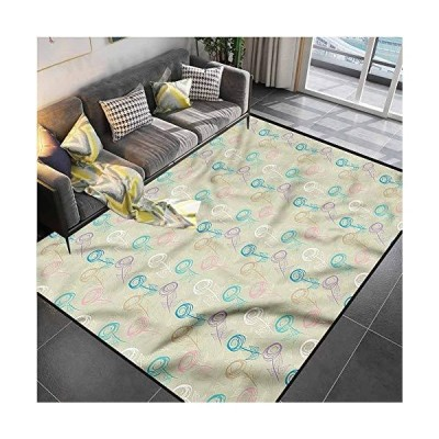 "Area Rug Print Large Rug Mat Retro,Foliage Leaves Romantic Petal Carpet mat for Kids Yoga Living Room Home Decor Rugs 4'7""x6'6""並行輸入品"