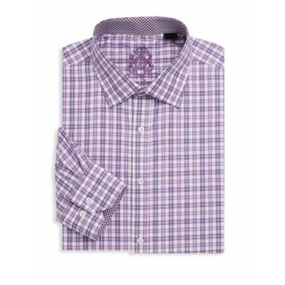 イングリッシュランドリー メンズ ドレスシャツ ワイシャツ Plaid Cotton Dress Shirt