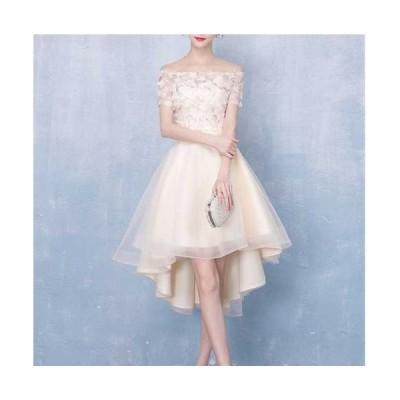 ミニドレス フレアースカート パーティードレス 大きいサイズ半袖 オフショルダー 花嫁 二次会 ドレス ウェディングドレス ミニ 結婚式